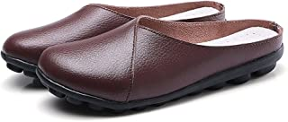 Women's Mules Slip-on Shoes Leather Clogs Flats Wallking Slipper