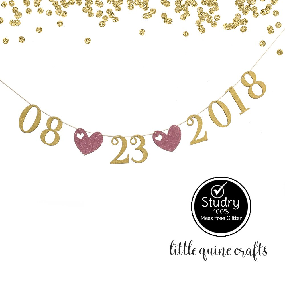 Large discharge sale Safety and trust 1 pc SAVE THE DATE Custom Date Ba Banner for Glitter Gold Pink