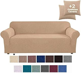 JINAMART High Stretch Couch Cover-One Piece Sofa Cover Furniture Protector + Two Cushion Covers and Pockets on The Sides… (Sand, Sofa)