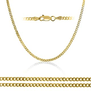 14K Solid Gold 3.3mm Italian Curb Chain Necklace, 16