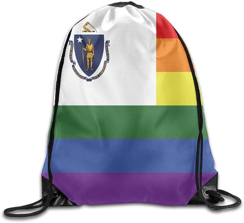 Rainbow Flag Of Massachusetts Funny Gym Drawstring Bags Travel Backpack Tote School Rucksack