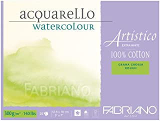"Fabriano Artistico 140 lb. Rough 25 Sheet Block 5x7"" - Extra White"