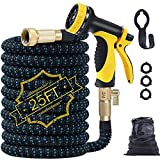 Expandable Garden Hose,25ft Water Hose Flexible Garden Hose with Triple Latex Core,10 Function Water Spray Nozzle,3/4' Solid Brass Fittings,Retractable Fabric,Leakproof No-Kink Expanding Hose