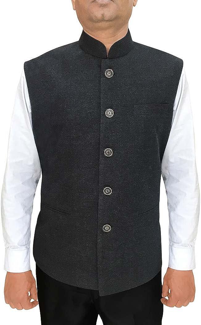INMONARCH Mens Indian Jacket Gray Nehru Vest for Reception NV95