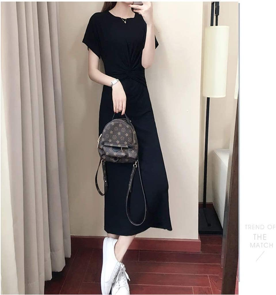 Dongjiguang Dress Dress Slim Thin Pack Hip Casual Dress Women's Black Skirt Tide 2 Colors 5 Sizes (Color : A, Size : L)