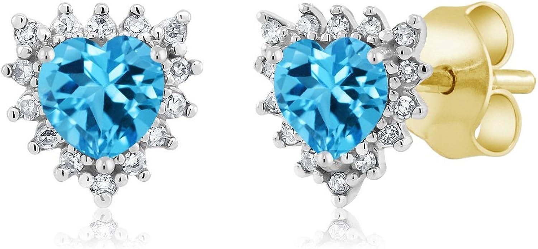 Gem Stone King 18K Two Tone gold 0.66 Ct Heart 4mm Swiss bluee Topaz & Diamond Stud Earrings