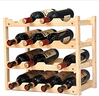 Pine Wine Holder 4 Layer 16 Bottles Wood Wine Rack Wine Shelf Wine Cabinet Display Stand for Home Living Room Kitchen Bar Solid Wood - Manual Assembly