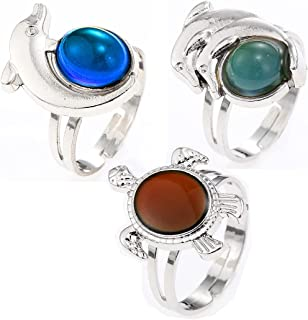 LUBINGSHINE 3 PCS Mood Ring Retro Style Adjustable Finger Rings for Lovers Friends One Size fits All