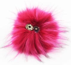 DIY 1pc 5.1inch (13CM) Fluffy Faux Fox Fur Pom Pom Ball with Press Botton (Dark Hot Pink)