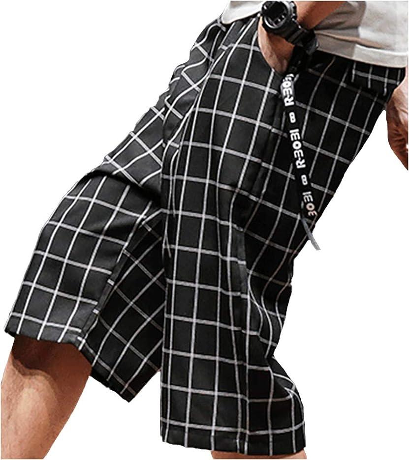 良心的短くする成功[ビーコ] 膝下 チェック柄 七分丈 クロップドパンツ(M~2XL)メンズ