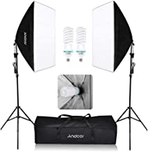 Andoer Photography Softbox Lighting Kit, 1350W Continuous Light System 50 x 70cm Professional Studio Softbox with 2pcs 5500K Bulbs 200cm Light Stand Carrying Bag for Photo Shoot