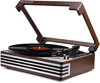 Record Player Turntable 3-Speed Wireless Vinyl Record Player USB Encoding SD Belt-Driven Reto Style Vinyl Record Player Portable Built-in Speakers Vintage Style (2019 Model)