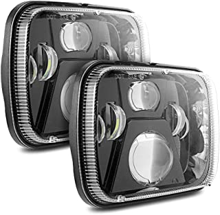 Auxbeam 2 Pcs 110W 5x7 Led Headlights Sealed Beam Headlamp with High Low Beam H6054 Led Headlight for Jeep Wrangler YJ Cherokee XJ H5054 H6054LL 6052 6053(Black)