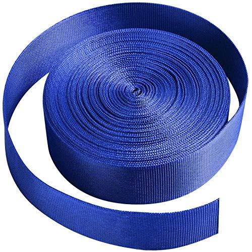 Jalan Correa de cincha Nylon 25 mm x 10 Yards, para Bricolaje, flejes de Mochilas, arneses y Collares de Perro - Azul