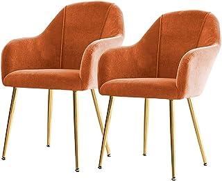 ZCXBHD Conjunto de 2pcs sillas Retro cenar Patas Metal Terciopelo Cocina Sillas recepción Sillas Antideslizantes con Respaldo y apoyabrazos for sillas Salón de Estar Corner