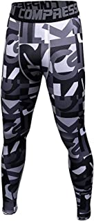 1Bests Men's and Youth Boy Gym Workout Leggings Running Fast Drying Elastic Compression Tight Pants