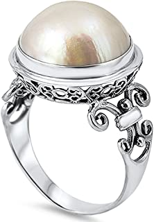 Sterling Silver Bali Cream or Pink Freshwater Cultured Mabe Pearl Cocktail Ring 17mm (Size 5 to 11)