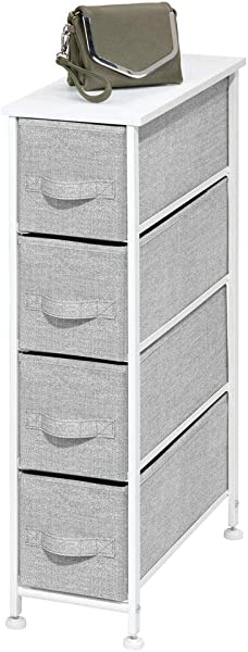 MDesign Narrow Vertical Dresser Storage Tower Sturdy Metal Frame Wood Top Easy Pull Fabric Bins Organizer Unit For Bedroom Hallway Entryway Closet Textured Print 4 Drawers Gray White