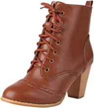 haoricu Women's PU Leather Boots High Heel Lace Up Military Buckle Motorcycle Ankle Booties Ladies Plus Size Shoes