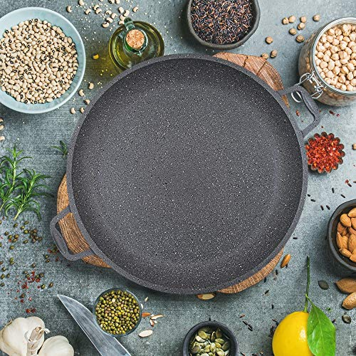Padella multifunzione compatibile con qualsiasi fornello, pizza e bistecchiera, diametro 36 cm, rivestimento antiaderente