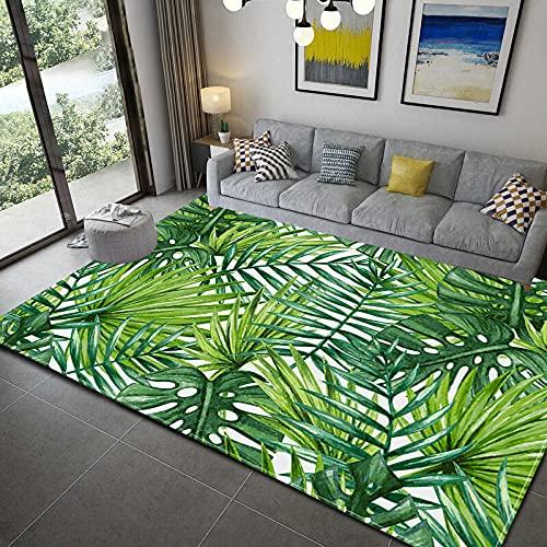 Lujosa Alfombra Moderna para Salón habitación de los Niños Dormitorio - Alfombra Antideslizante Muy Suave, Lavable, Hojas Verdes Tropicales 160 x 230 cm