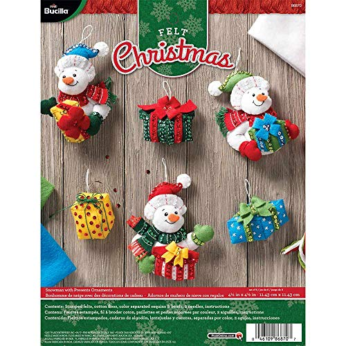 Vintage 6 pc Bucilla Christmas Felt Ornament Kit WOODLAND HOLIDAYS 84970