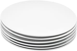 Durable Porcelain 6-Piece Salad Plate Set, Elegant White Serving Plates (8-inch lunch plates)