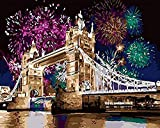 N/C Pintura DIY por Números Kits para Adultos Pintura Al Óleo por Número para Niños Principiante - Fuegos Artificiales London Tower Bridge Christmas Home Decor 40X50Cm Sin Marco