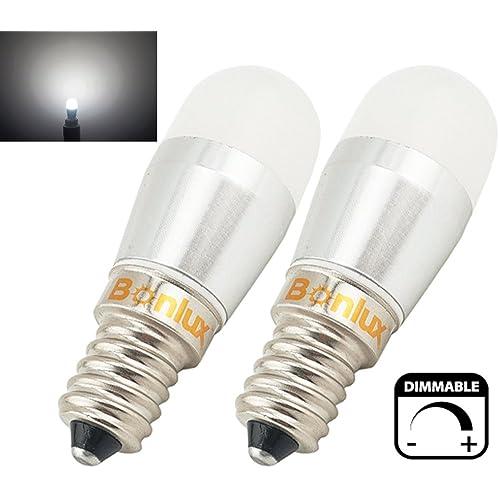 Bonlux 2-packs 3W SES Dimmable LED pygmée lampe Cool blanc 6000K 220-240V 25W halogène remplacement petit Edison à vis E14 LED bougie ampoule pour réfrigérateur / four micro-ondes / cuisinière hotte / Sewing Machine