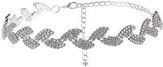 Vintage Rhinestone Choker Crystal Maxi Statement Necklace Leaf Bib Wedding chokers
