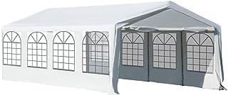 comprar comparacion Outsunny Carpa de Jardín Cochera Gazebo 8x4m Pergola Cenador Pabellón 4 Paneles Laterales 8 Ventanas para Fiesta Eventos B...