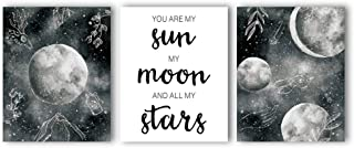 """Unframed You are My Sun Wall Art Painting Abstract Planet Moon Universe Canvas Prints,Set of 3 Art Poster(8""""X 10) Inspirational Art Painting for Living Room Bedroom Decor"""
