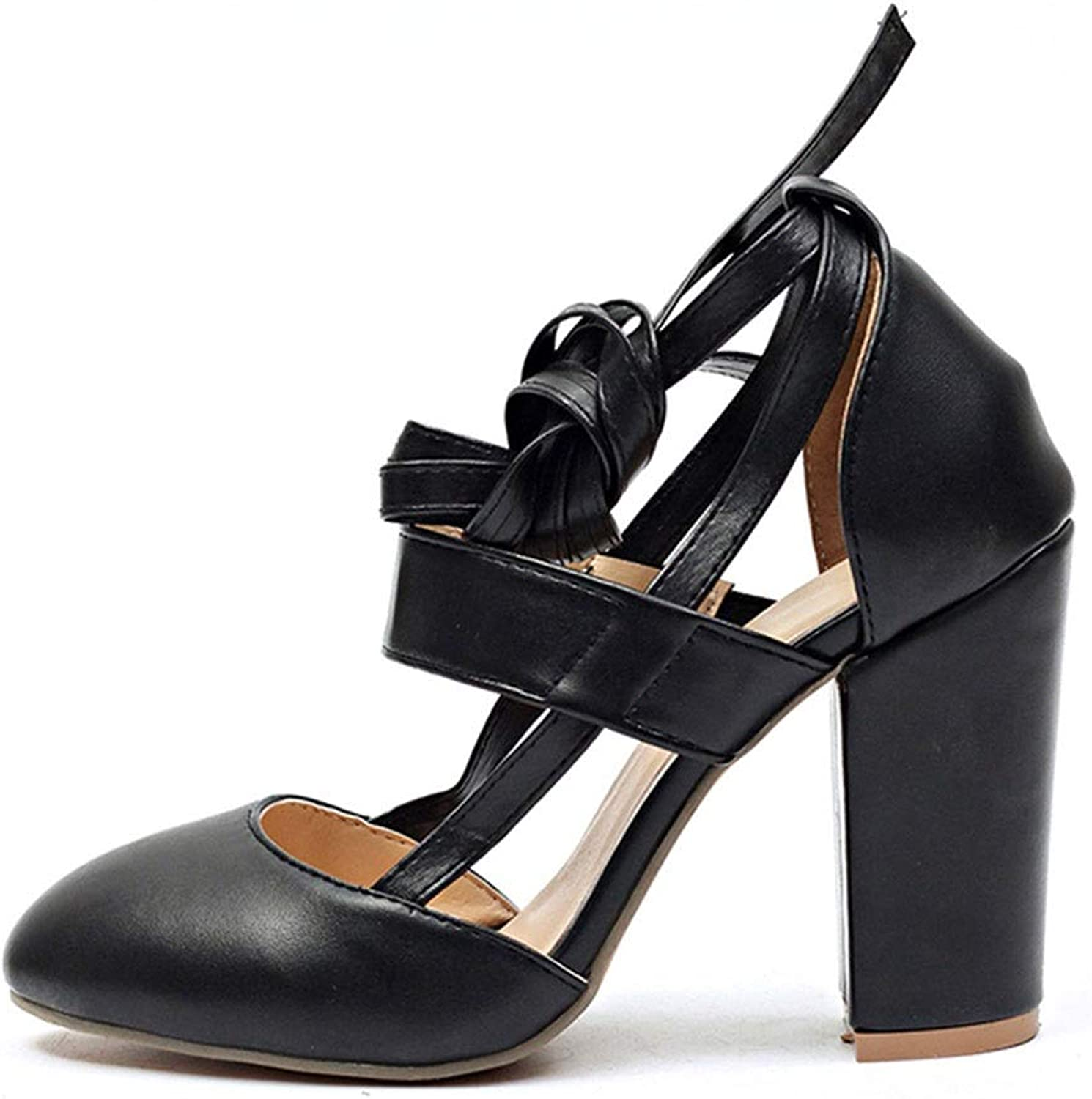 Women's High Heels - Cute Round Head shoes Comfortable Thick with Sandals Wedding shoes (color   Black, Size   36)