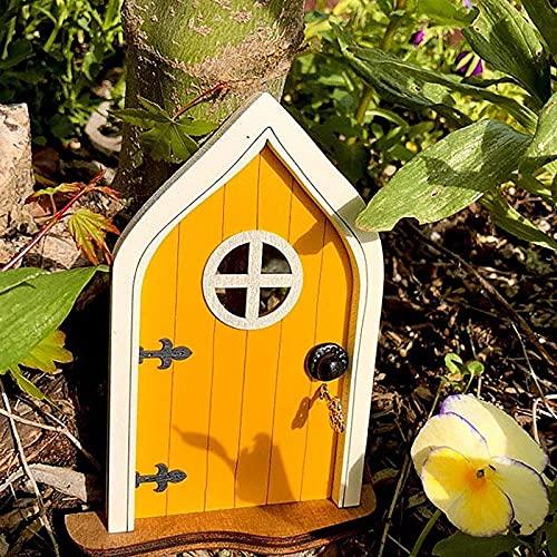 Playhouse Dekoration Tür, Miniatur Haustür für Haus, Holz Elfen Tür mit lustigen Kobold zu öffnen, Handwerk Tür 3D-Dekoration, Fenster und Tür für Bäume, Hof, Kunst, Garten, Skulptur (Yellow)
