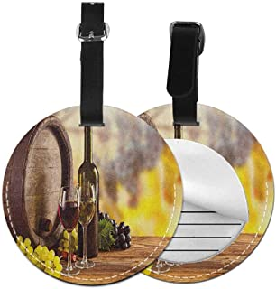 Printed round luggage tag Wine Quickly find the suitcase Red and White Wine Bottle Glass on Wooden Keg Quality Taste Traditional,Diameter3.7