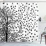 ABAKUHAUS Schwarz & weiß Duschvorhang, Flying Birds Baum, Waserdichter Stoff mit 12 Haken Set Dekorativer Farbfest Bakterie Resistet, 175x200 cm, Schwarz-Weiss
