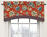 WAVERLY Brighton Blossom Rod Pocket Curtains for Kitchen and Living Room, 52' x 18', Gem