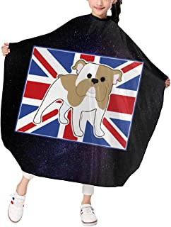 HAIRKID372 English Bulldog Haircut Apron Barber Cape for Children Styling and Shampoo