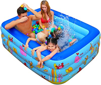 Inflatable Swimming Pool,PVC Swimming Pool Thickened Safe Paddling Pool for Kids and Adults,Family Inflatable Pool for Garden,Backyard, Outdoor Summer Water Party Inflatable Pool,Small to Large Size