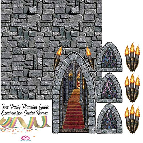 Stone Wall Backdrop with Stairway, Window & Torch Props Party Accessories Bundle | Create Your Own Medeival Theme