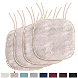 H.VERSAILTEX Chair Cushion Memory Foam Chair Pads with Ties Honeycomb Pattern Nonslip Rubber Back Rounded Square 16' x 16' Dining Chair Seat Cover (4 Pack, Sand)