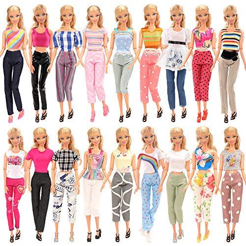 Miunana 10 Sets Fashionistas Kleidung Bluse mit 10 Hosen Hose für 11,5 Zoll Mädchen Puppen Geburstag Geschenke