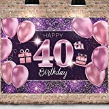 PAKBOOM Happy 40th Birthday Backdrop Pink Photo Background Banner 40 Birthday Decorations Party Supplies for Women