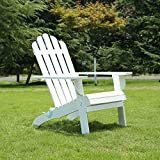 Songsen Fashion Outdoor Wooden Folding Adirondack Chairs Patio Deck Garden Furniture (Adult,White)