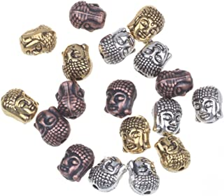 RUBYCA 40PCS Buddha Small Spiritual Metal Beads Mix Colors Spacer for Jewelry Making Bracelet