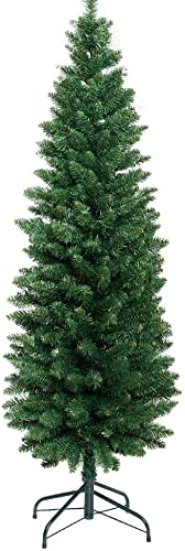 1.8M Slim Christmas Tree 6FT Pencil Xmas Tree Faux Green Jingle Jollys Holiday Decoration Indoor Décor Home Office Cl...