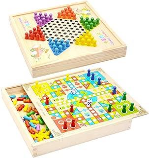 [もうほうきょう] 二つに一つ チェッカー 五目並べ ボードゲーム 多機能 大人のチェス 子供用パズル 木のおもちゃ 頭脳トレーニング ボードゲーム 家族パーティー用ゲーム (02)