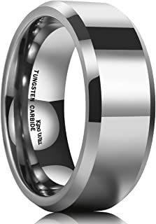 Basic Men's 4mm/5mm/6mm/7mm/8mm Tungsten Carbide Ring Polished Plain Comfort Fit Wedding Engagement Band