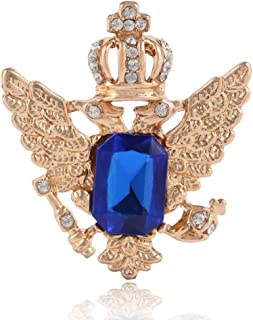 Elegant Sapphire Crown Double-Headed Eagle Wings Brooch Pin Badge Pin Charm Jewelry Accessories