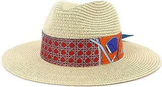 Outdoor Bucket Sun Hat Classic Summer Lady Straw Sun Hat Floppy Hat Wheat Straw Hat Elegant Sombrero Panama Hat Fedora Hat Panama Hat (Color : Khaki, Size : 56-58CM)